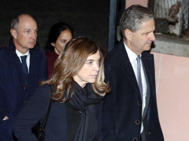 Jaime Carvajal y Xandra Falcó durante el funeral de la Infanta Doña Pilar el pasado mes de enero en Madrid / GTRES