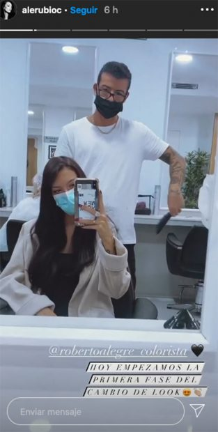 Alejandra Rubio en la peluqueria/Instagram @alerubioc