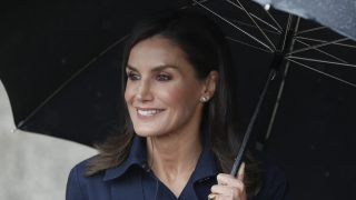 La reina Letizia no pierde la sonrisa bajo la lluvia / Gtres