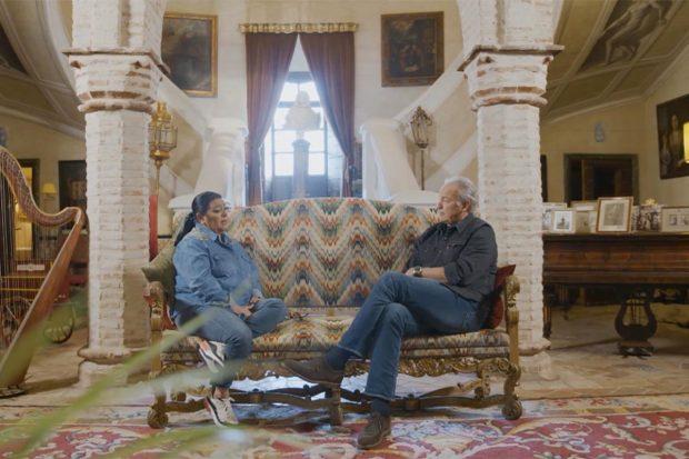 María del Monte hablando con Bertín Osborne en 'Mi casa es la tuya'./Telecinco