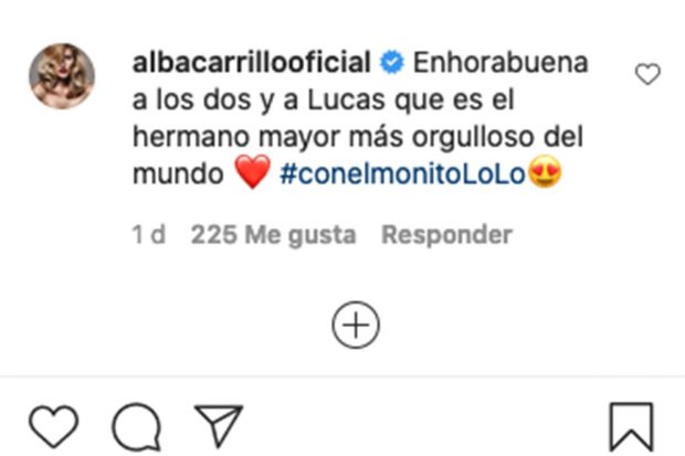 Comentario de Alba Carrillo a Fonsi Nieto./Instagram @fonsinieto10