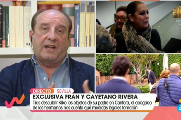 Joaquín Moeckel explicando qué acciones legales tomará contra Isabel Pantoja./Telecinco