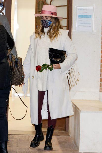 Elena Tablada durante el funeral de su abuela que ha tenido lugar en Madrid./Gtres