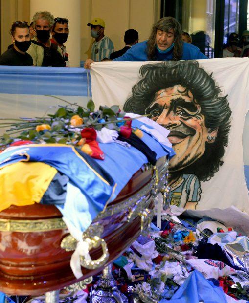 Féretro donde descansan los restos mortales de Diego Maradona./Gtres