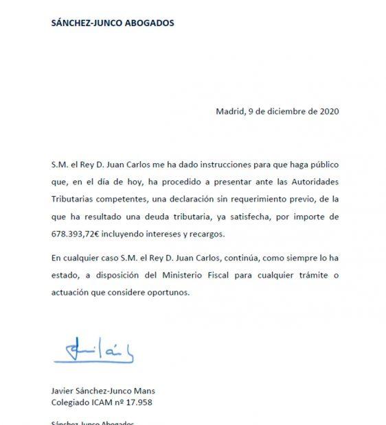 Comunicado rey Juan Carlos
