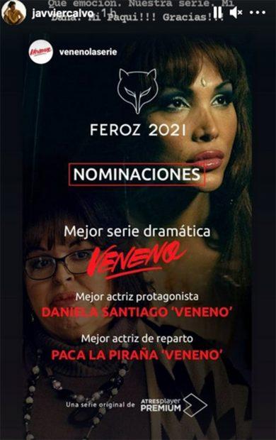 'Veneno', serie nominada a los Premios Feroz./Instagram @javviercalvo