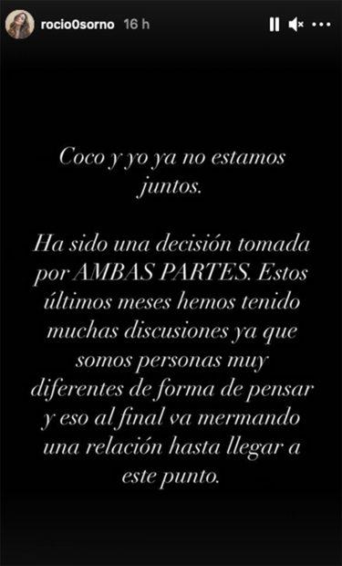 Comunicado de separción de Rocío Osorno y Jacobo Robatto./Instagram @rocio0sorno