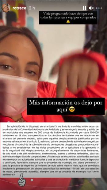 Rocío Flores explicando su viaje a Sierra Nevada./@rotrece