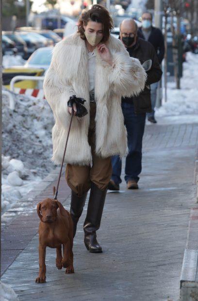 Eugenia Osborne, paseando a su perro por Madrid / Gtres