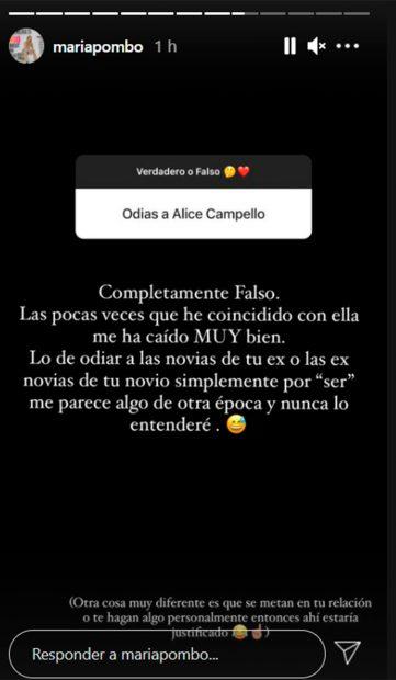 María Pombo ha explicado en Instagram su relación con Alice Campello / Instagram