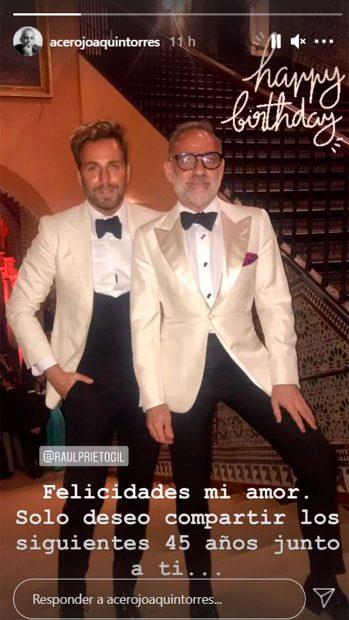 Joaquín Torres felicita a su novio / Instagram