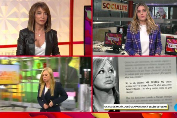 María Patiño dando a conocer la carta de María José Campanario./'Socialité'