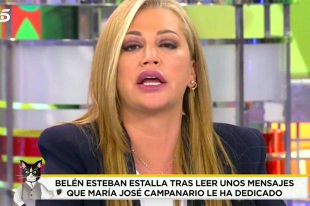 Cuando Belén Esteban se ha enterado de la carta que ha escrito María José Campanario, no daba crédito./'Socialité'