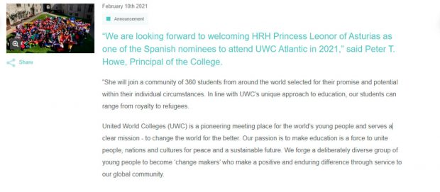 Comunicado bienvenida Leonor UWC Atlantic College