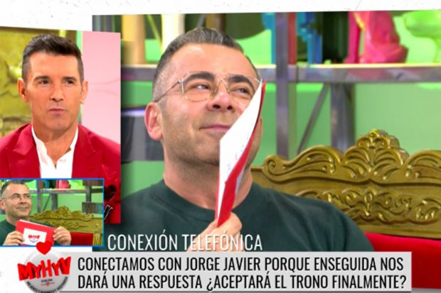Jorge Javier Vázquez aceptó el trono en directo hablando con Jesús Vázquez./Telecinco