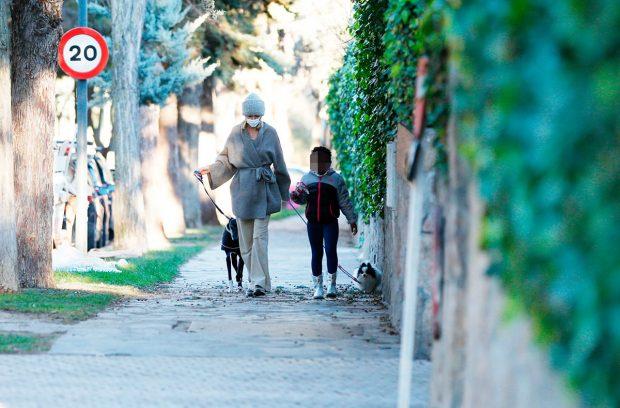 Susanna Griso y su hija Dorcette, con la galga perdida y otro de sus perritos / Gtres