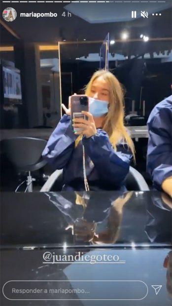 María Pombo en la peluquería./Instagram @mariapombo