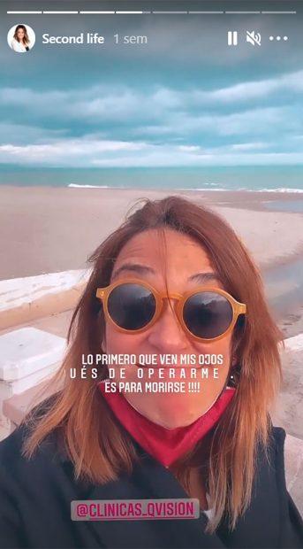Instagram Storie de Toñi Moreno después de operarse de la visión / Instagram