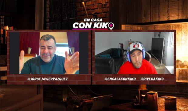 Jorge Javier y Kiko Rivera en el programa online de 'En casa con Kiko'./Jorge Javier se ha sincerado en el programa 'En casa con Kiko'./Twitch