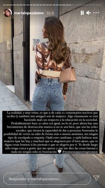 La amarga queja de Marta López en Instagram / @martalopezalamo
