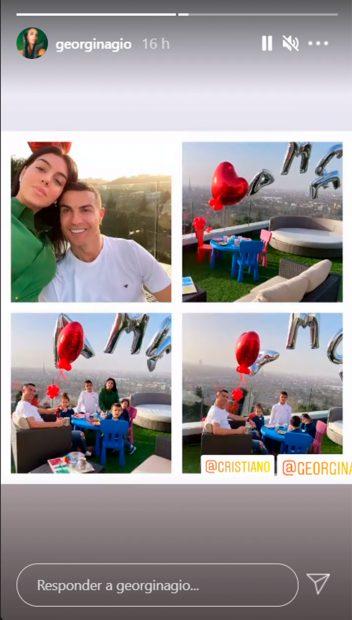 Georgina Rodríguez y Cristiano Ronaldo, con sus hijos, durante una idílica merienda celebrada este pasado jueves en su casa de Turín / Instagram: @georginagio