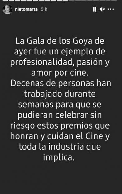 Storie Marta Nieto./Instagram @nietomarta