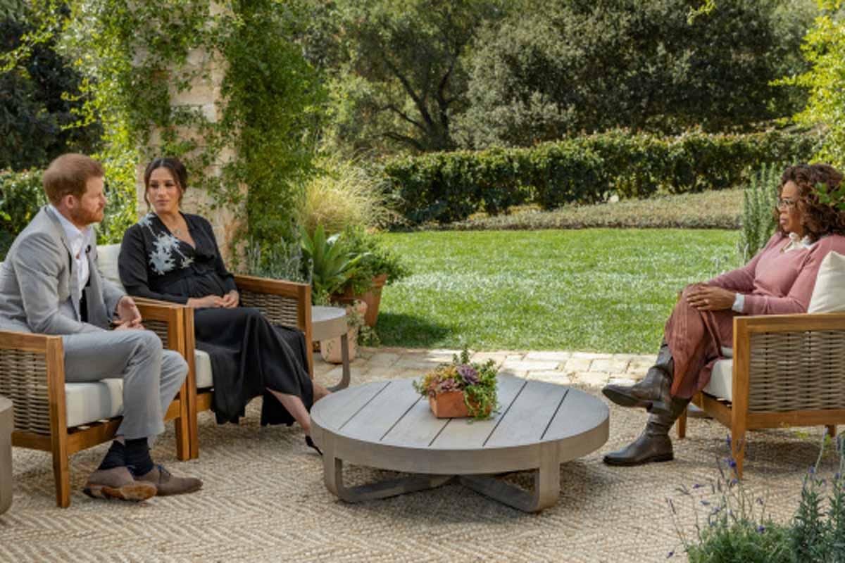 Meghan y Harry junto a Oprah Winfrey / CBS