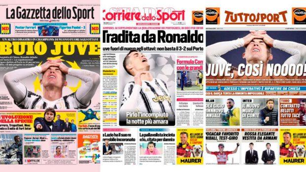 Los periódicos deportivos italianos se ceban contra Cristiano