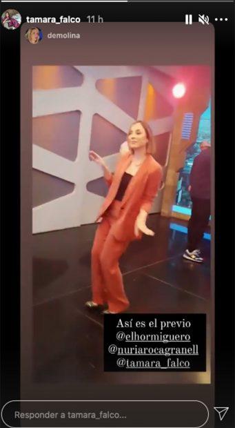 La hija de Isabel Preysler minutos previos a salir en directo en 'El Hormiguero'./Instagram @tamara_falco