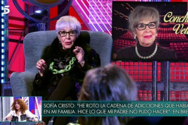 Concha Velasco ha confesado en el programa presentado por Jorge Javier Vázquez quien es el verdadero padre de su hijo Manuel./Telecinco