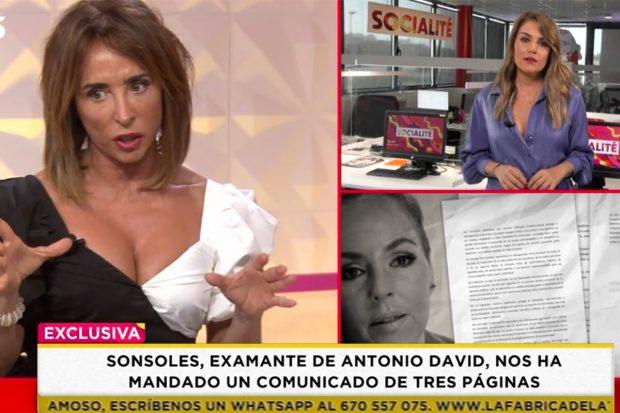 María Patiño ha confesado este sábado en 'Socialité' que habló con Sonsoles vía WhatsApp este mismo enero./'Socialité'