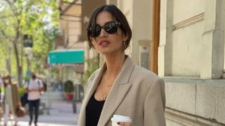Un blazer oversize como el de Sara Carbonero está disponible en Bershka con descuento