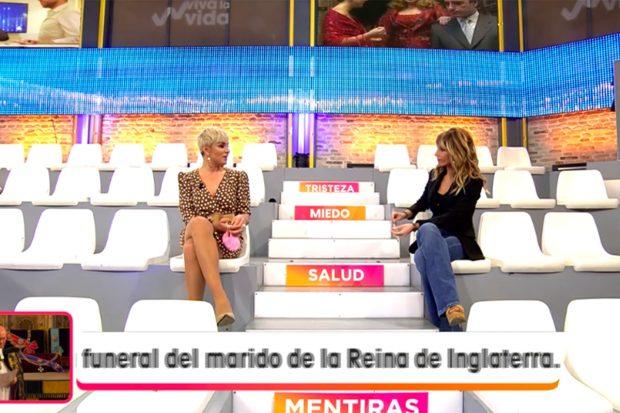 Ana María Aldón hablando con Emma García en 'Viva la Vida' sobre las palabras que dijo ayer Rocío Flores./Telecinco