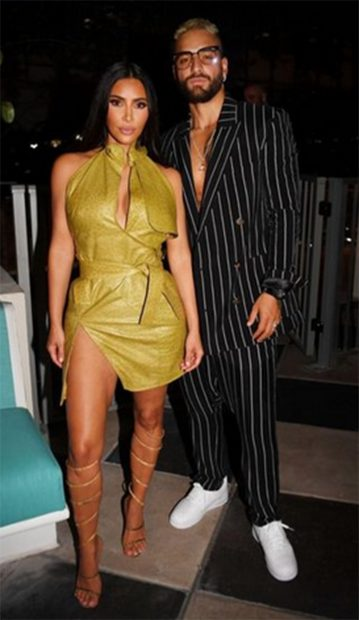 Maluma y Kim Karsahian de fiesta en Miami./Instagram @kimkardashian