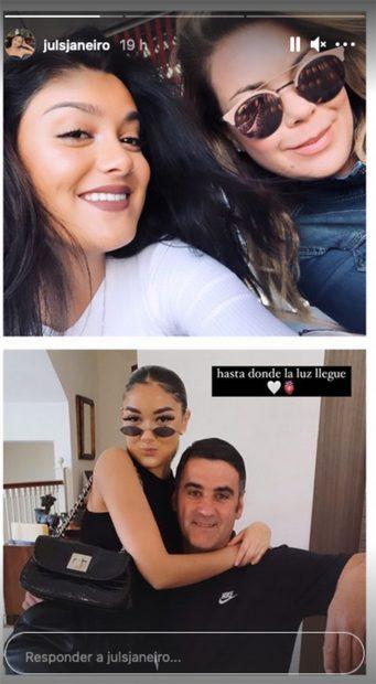 Fotografía familiar de Julia Janeiro junto a sus padres, Jesulín de Ubrique y María José Campanario./Instagram @julsjaneiro