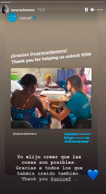 Sara Carbonero es una de las embajadoras de Unicef que ha colaborado en esta campaña / Instagram