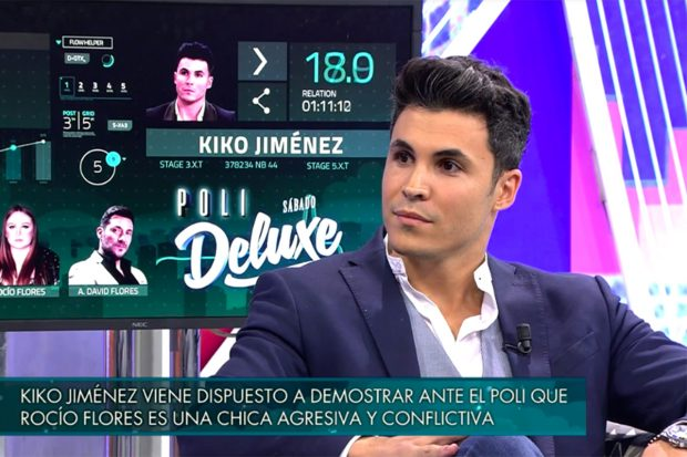 Kiko Jiménez en 'Sábado Deluxe' hablando sobre el entramado familiar de Rocío Carraco./Telecinco