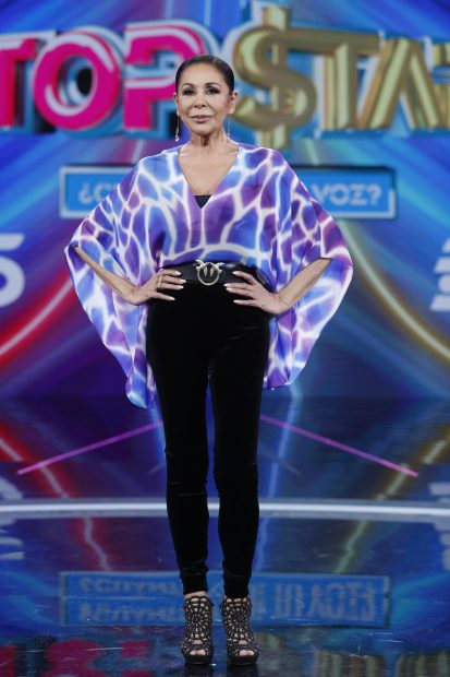 Isabel Pantoja en la presentación de 'Top Star: ¿cuánto vale tu voz?'./Gtres