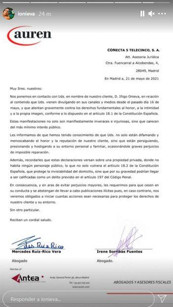 Íñigo Onieva ha mandado este escrito a través de sus abogados / Instagram