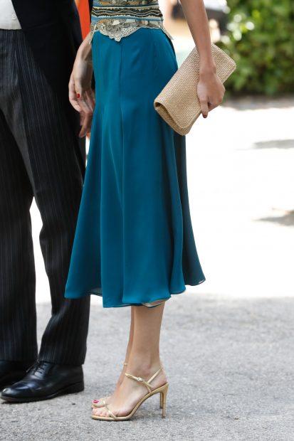 La duquesa de Huéscar se ha decantado por el turquesa para su vestido./Gtres