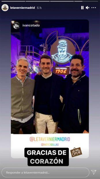 Iker Casillas, con los socios de 'Le Tavernier' / Instagram @ikercasillas