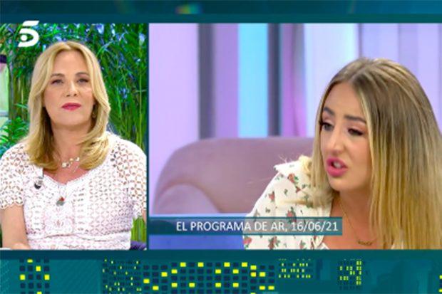 Belén Rodríguez expresa su cabreo con Rocío Flores en 'Viernes Deluxe'./Telecinco