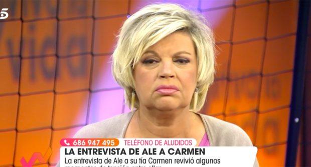 Terelu Campos da su opinión sobre el comportamiento de Rocío Flores el pasado martes en el plató de 'Tierra de nadie'./Telecinco