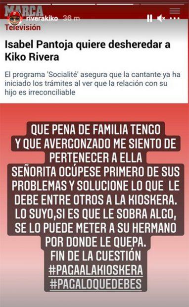 Kiko Rivera lanza un mensaje a su madre./Instagram @riverakiko
