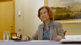 La reina Sofía durante la reunión virtual / Casa de S.M. el Rey