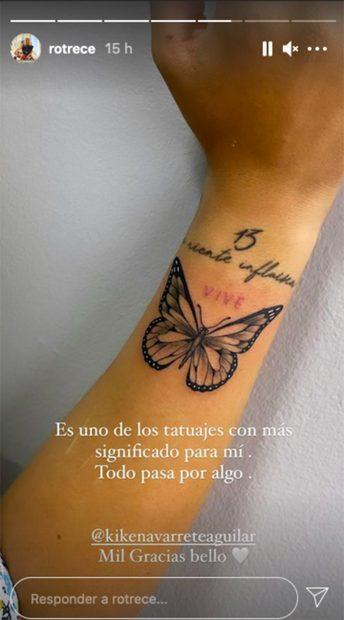 Rocío Flores se ha hecho un nuevo tatuaje y lo ha compartido a través de las redes sociales./Instagram @rotrece
