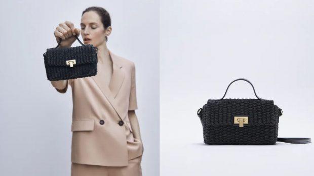 Bandolera caja trenzada de Zara