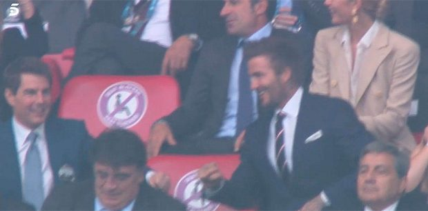 Tom Cruise y David Beckham celebran el gol inglés en la final de la Eurocopa 2020 / Telecinco