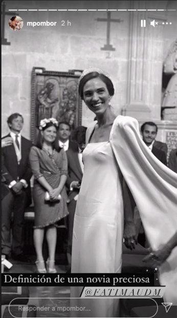 La novia en su llegada a la iglesia./Instagram @mariapombor