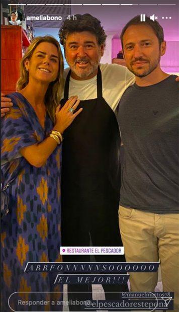 Amelia Bono junto a Manuel Martos disfrutando de unas vacaciones en familia./Instagram @ameliabono